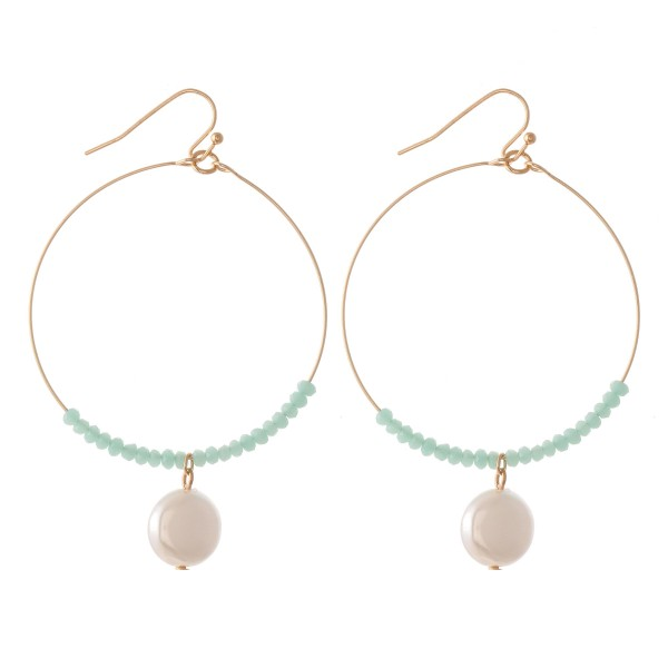"""Faceted Beaded Drop Earrings Featuring Pearl Detail.  - Approximately 2.5"""" L - 2"""" in diameter"""