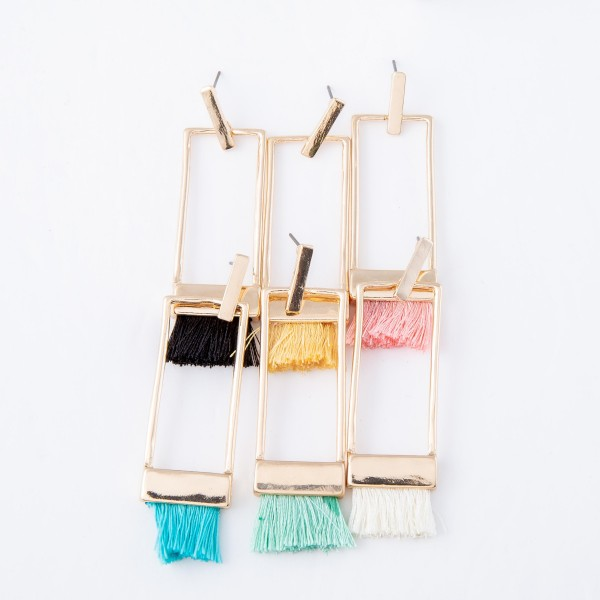 "Gold Thread Tassel Statement Bar Earrings.  - Approximately 2.5"" L"