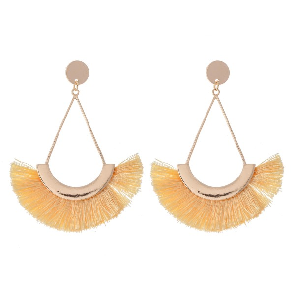 "Gold Thread Tassel Statement Teardrop Earrings.  - Approximately 3"" L"