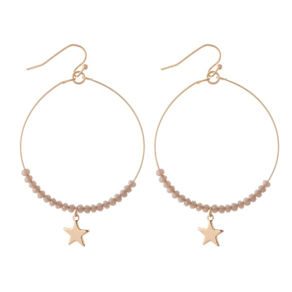 "Beaded Gold Star Drop Earrings.  - Approximately 2.5"" L - 2"" in diameter"