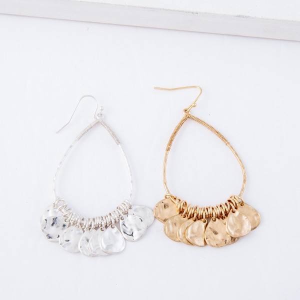 """Hammered Teardrop Dangle Earrings with Wire Wrapped Details.  - Approximately 2.5"""" L"""