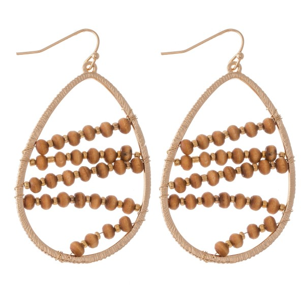 "Wire Wood Beaded Teardrop Earrings.  - Approximately 2"" L"