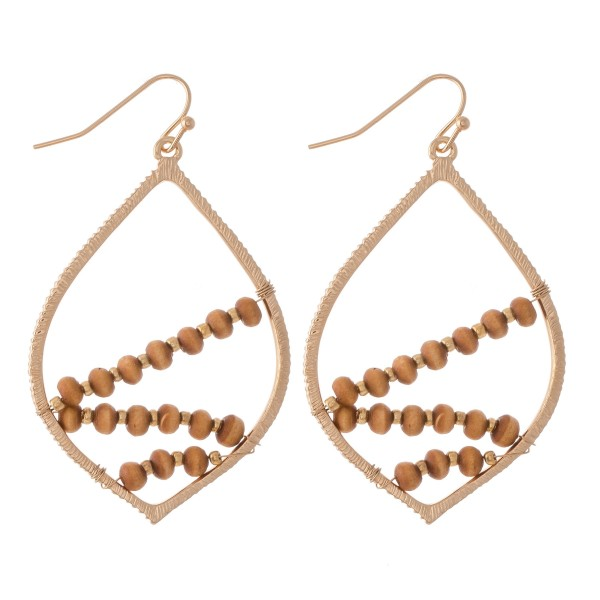 "Wire Wood Beaded Drop Earrings.  - Approximately 2"" L"