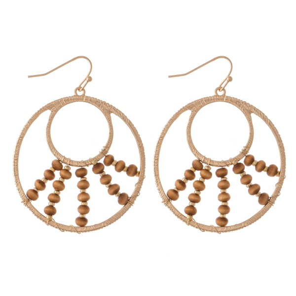 "Wire Wood Beaded Drop Earrings.  - Approximately 2"" L  - 1.75"" in diameter"