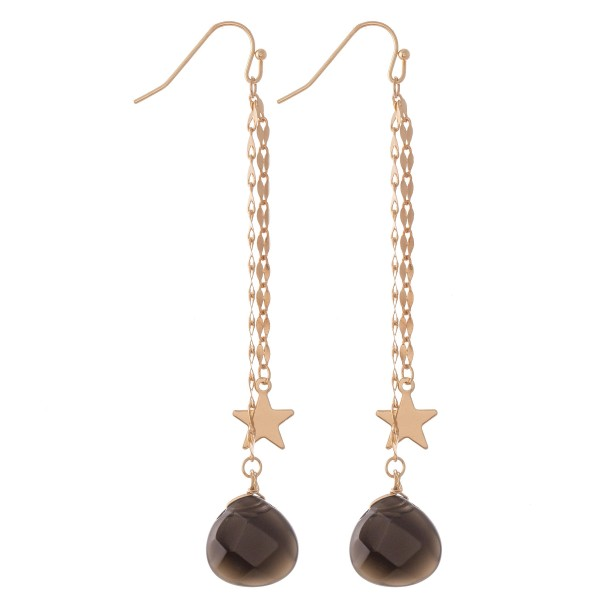 "Gold Double Chain Drop Earrings Featuring Star & Natural Stone Detail.  - Approximately 3.5"" L"
