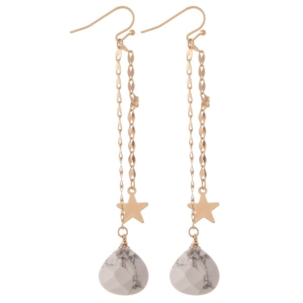 Wholesale gold Double Chain Drop Earrings Star Natural Stone Detail L