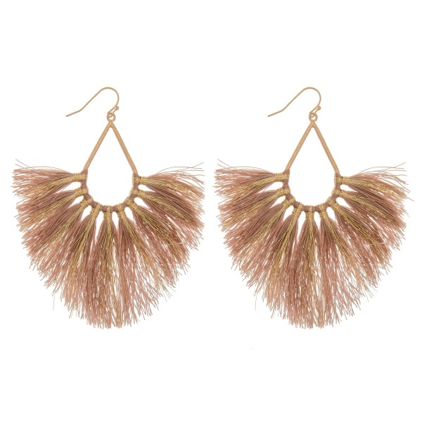 Wholesale metallic Stripe Fringe Tassel Statement Teardrop Earrings L