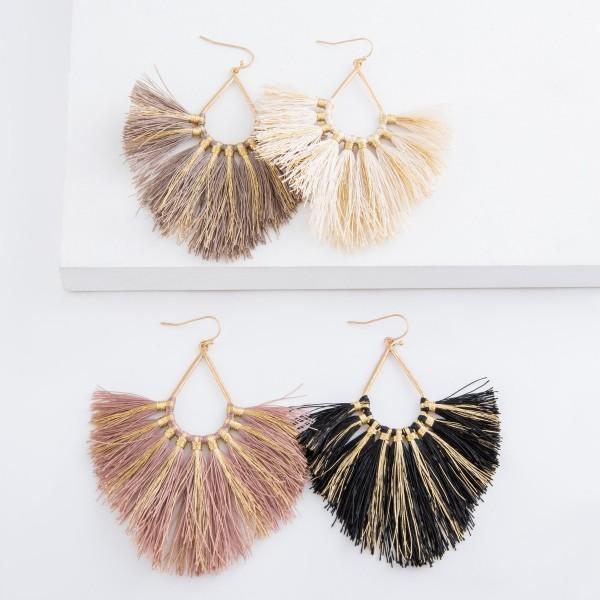 """Metallic stripe fringe tassel teardrop statement earrings.  - Approximately 4"""" L"""