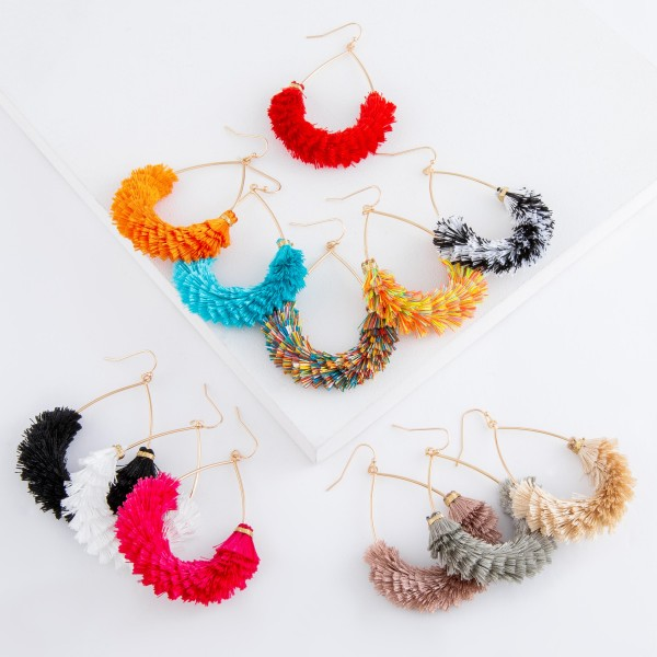 "Fringe Tassel Teardrop Earrings.  - Approximately 2.5"" in Length"