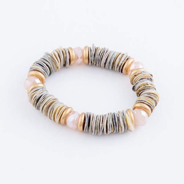 """Oyster Shell Flat Disc Beaded Stretch Bracelet with Faceted Bead Details.  - Approximately 3"""" in diameter unstretched - Fits up to a 7"""" wrist"""