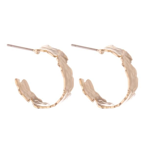 """Short Brass Nugget Cut Hoop Earrings.  - Approximately .75"""" in diameter"""