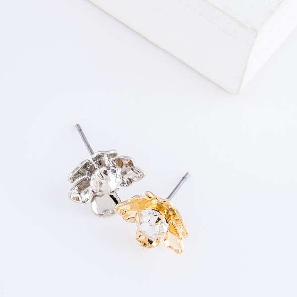 Cubic Zirconia Brass Flower Stud Earrings.  - Approximately 1cm in diameter
