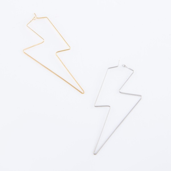 "Brass Wire Lightning Bolt Hoop Earrings.  - Approximately 2.5"" L"