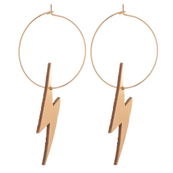 "Gold Tone Faux Leather Lightning Bolt Wire Hoop Earrings.  - Approximately 2.5"" L - Hoop Diameter 1"""