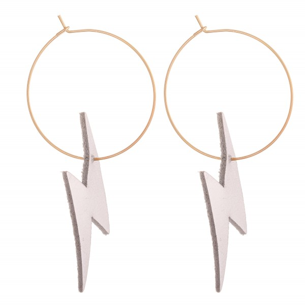 "Silver Tone Faux Leather Lightning Bolt Wire Hoop Earrings.  - Approximately 2.5"" L - Hoop Diameter 1"""