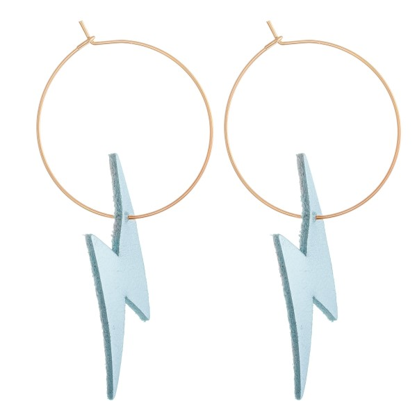 """Turquoise Faux Leather Lightning Bolt Wire Hoop Earrings.  - Approximately 2.5"""" L - Hoop Diameter 1"""""""