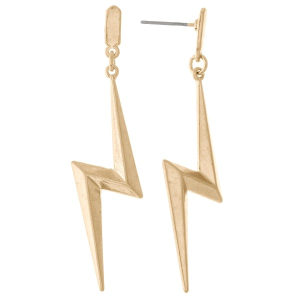 "Metal Lightning Bolt Drop Earrings in Worn Gold.  - Approximately 2""  L"