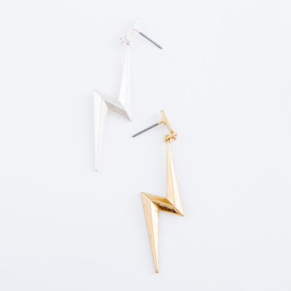 "Metal Lightning Bolt Drop Earrings.  - Approximately 2""  L"