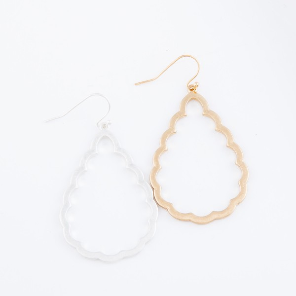 "Flower Cut Teardrop Earrings in Worn Gold.  - Approximately 2"" L"