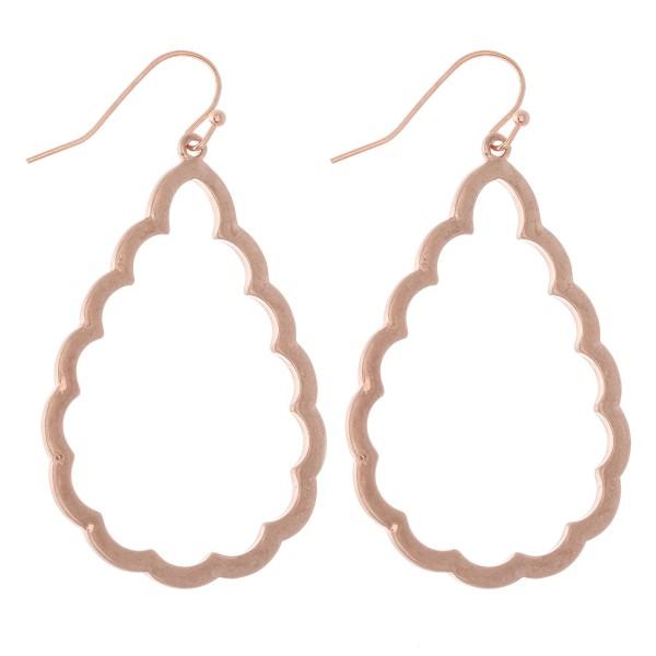 """Flower Cut Teardrop Earrings in Worn Rose Gold.  - Approximately 2"""" L"""
