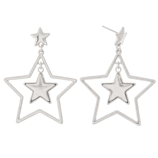 "Nested Star Drop Earrings.  - Approximately 2"" L"