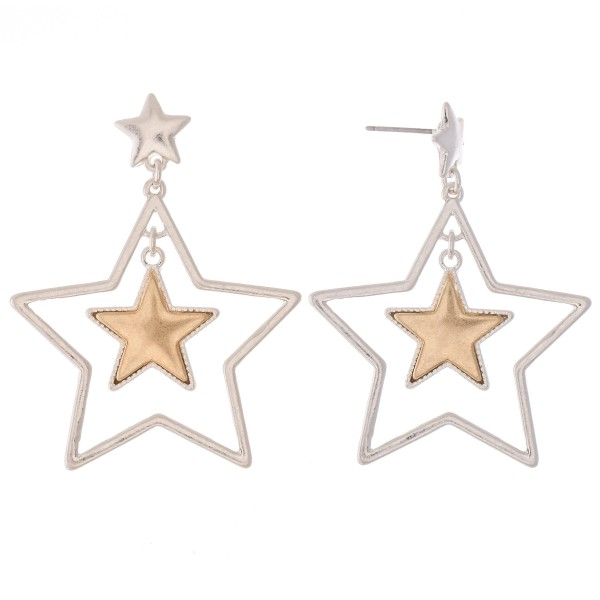 Wholesale two Nested Star Drop Earrings L