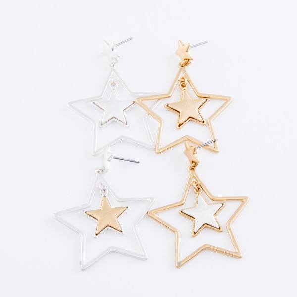 "Two Tone Nested Star Drop Earrings.  - Approximately 2"" L"