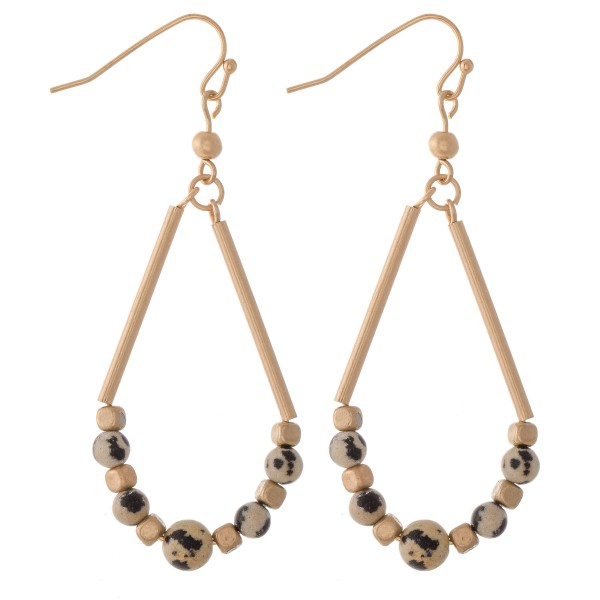 """Semi Precious Beaded Teardrop Earrings with Natural Stone Details.  - Approximately 2.25"""" L"""