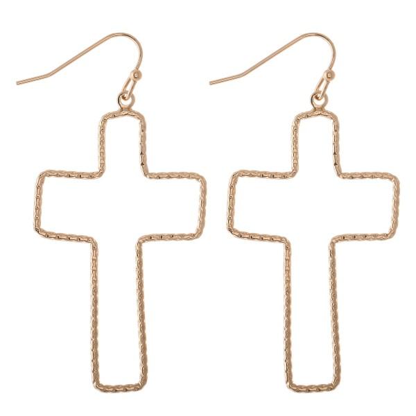 "Rigid Textured Cross Drop Earrings.  - Approximately 2"" L"