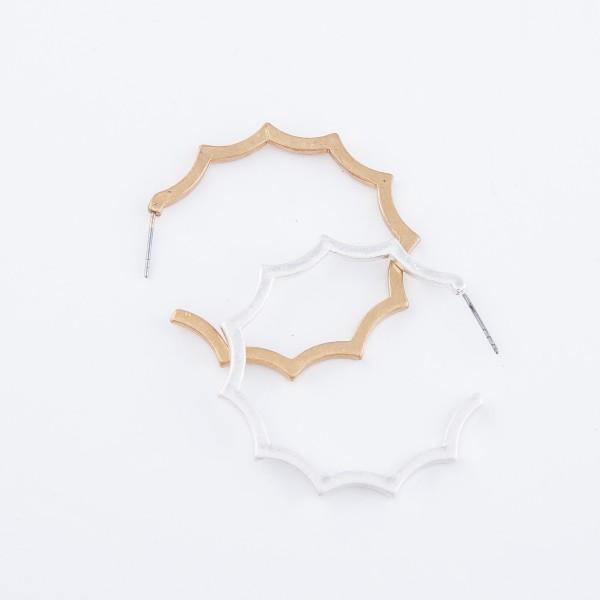 """Rigid Cut Hoop Earrings.  - Approximately 1.5"""" in diameter"""
