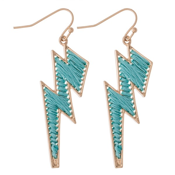 "Thread Wrapped Lightning Bolt Drop Earrings.  - Approximately 2"" L"