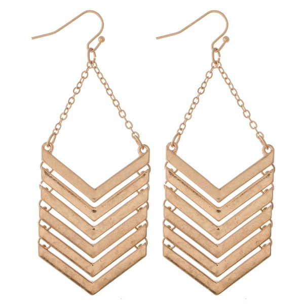 "Metal Chevron Linked Drop Earrings.  - Approximately 3"" L"