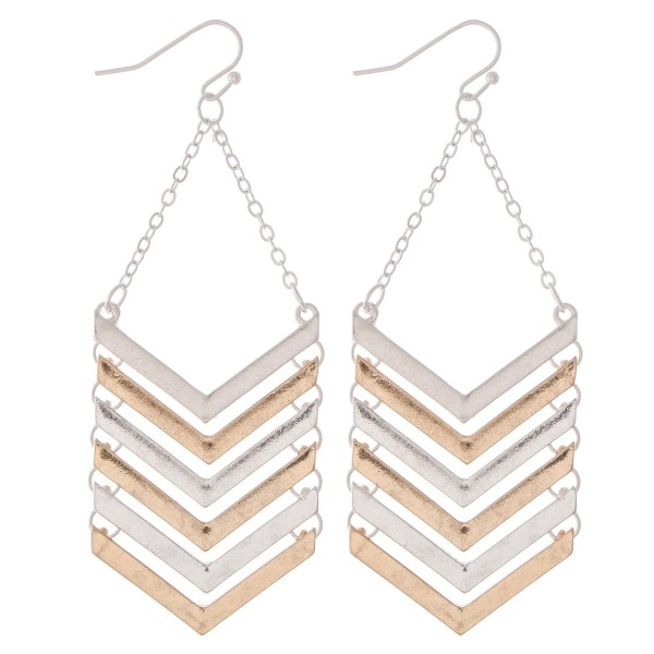 "Two Tone Metal Chevron Linked Drop Earrings.  - Approximately 3"" L"