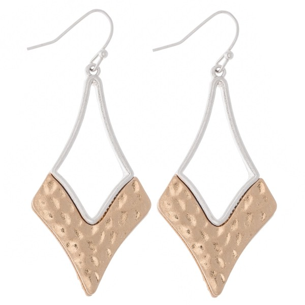 "Two Tone Foundry Hammered Drop Earrings.  - Approximately 2"" L"