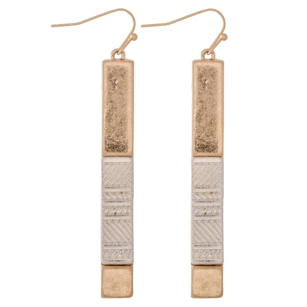 "Two Tone Statement Bar Earrings with Textured Detail.  - Approximately 2.5"" L"