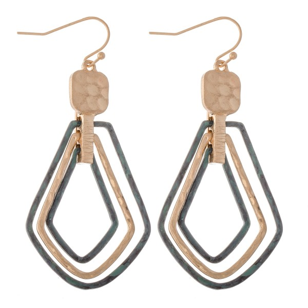 """Two Tone Patina Hammered Hinge Teardrop Earrings.  - Approximately 2.25"""" L"""