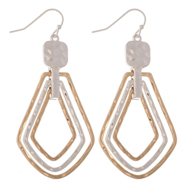 """Two Tone Hammered Hinge Teardrop Earrings.  - Approximately 2.25"""" L"""