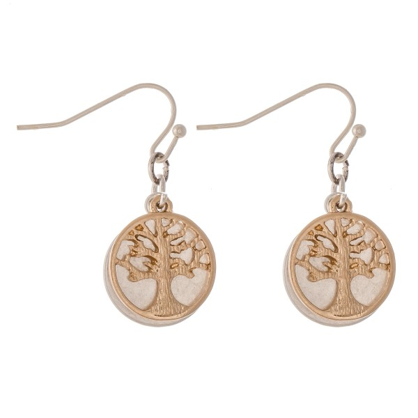 "Short Two Tone Tree of Life Dangle Earrings.  - Approximately 1"" L"