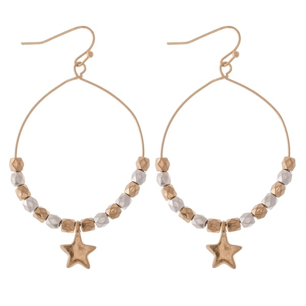 "Two Tone Beaded Star Drop Earrings.  - Approximately 2.5"" L - Approximately 1.5"" in diameter"