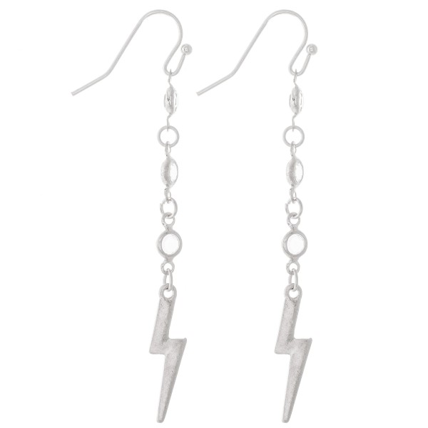 "Clear Drip Lightning Bolt Earrings.  - Approximately 2.5"" L"