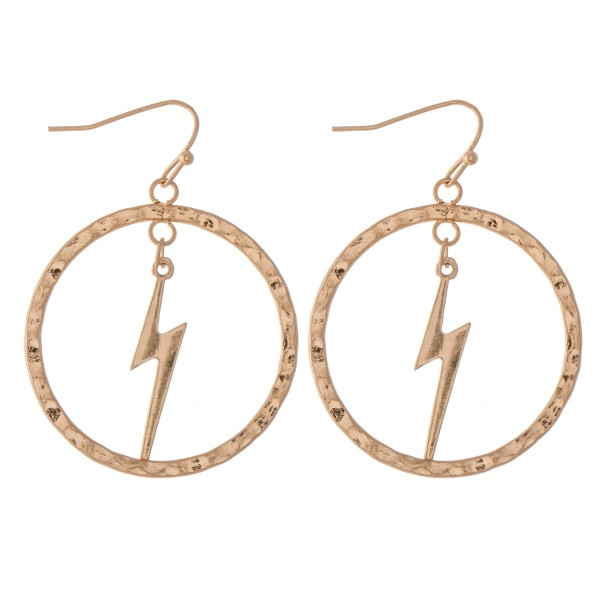 "Hammered Nested Lightning Bolt Drop Earrings.  - Approximately 1.75"" L - Approximately 1.25"" in diameter"
