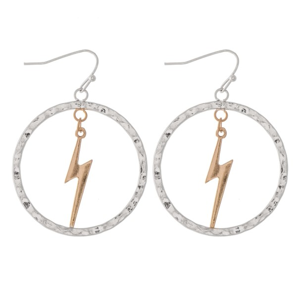 "Two Tone Hammered Nested Lightning Bolt Drop Earrings.  - Approximately 1.75"" L - Approximately 1.25"" in diameter"