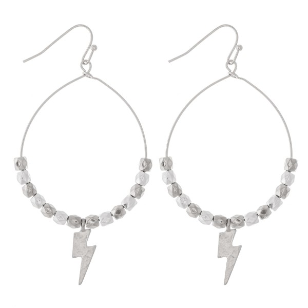 "Beaded Lightning Bolt Drop Earrings.  - Approximately 2.5"" L - Approximately 1.5"" in diameter"