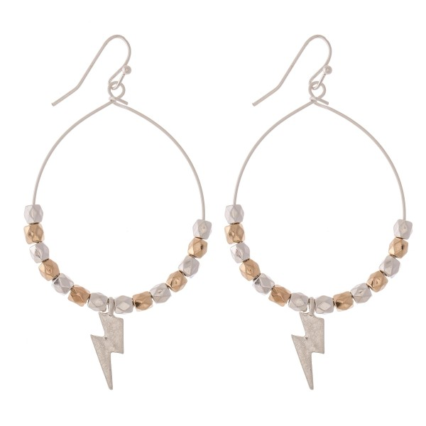 "Two Tone Beaded Lightning Bolt Drop Earrings.  - Approximately 2.5"" L - Approximately 1.5"" in diameter"