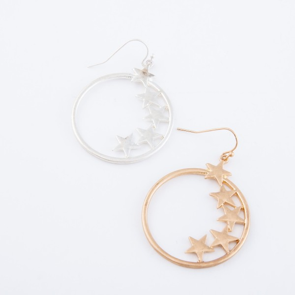 "Inner Star Drop Earrings.  - Approximately 2"" L - Approximately 1.25"" in diameter"