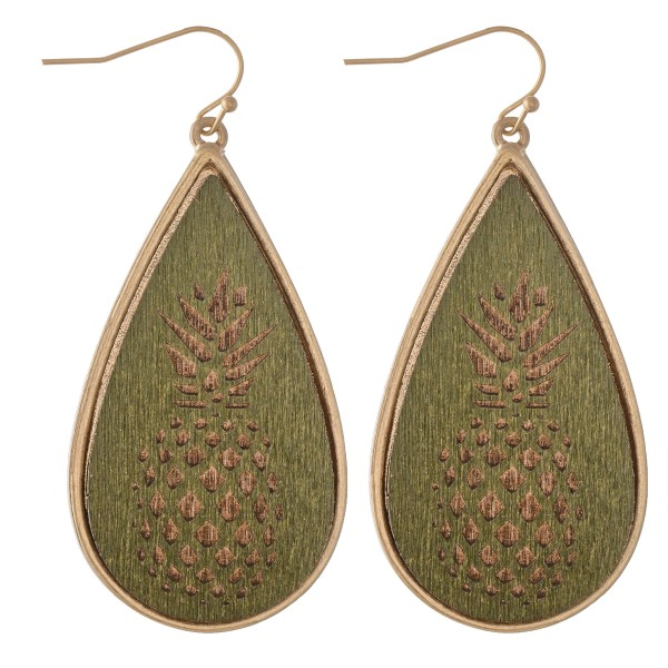 "Wooden Pineapple Stamped Teardrop Earrings.  - Approximately 2.25"" L"
