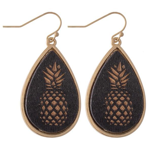"Wooden Pineapple Stamped Teardrop Earrings.  - Approximately 1.5"" L"