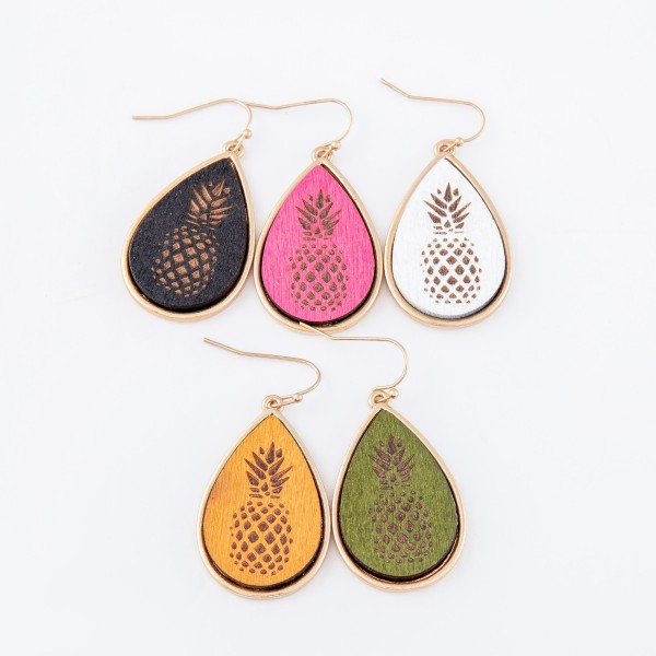 "Wooden Pineapple Stamped Teardrop Earrings.  - Approximately 1.5"" L"