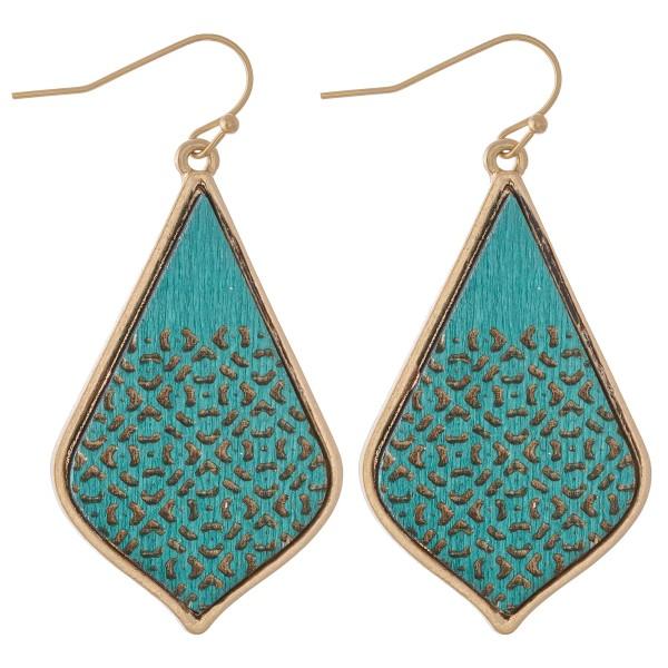 """Wooden Filigree Print Teardrop Earrings.  - Approximately 2"""" L"""