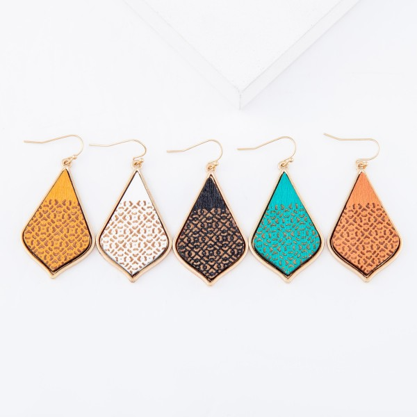 "Wooden Filigree Print Teardrop Earrings.  - Approximately 2"" L"